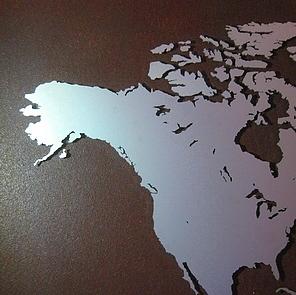 metaal schilderij wereldkaart