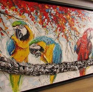 Carroline van Dijk schilderij papegaai
