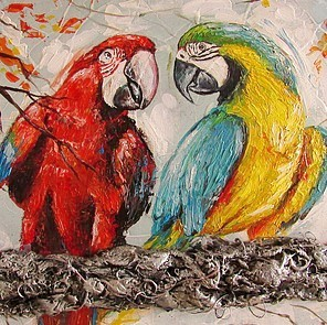 Carroline van Dijk-modern schilderij papegaaien in opdracht laten maken
