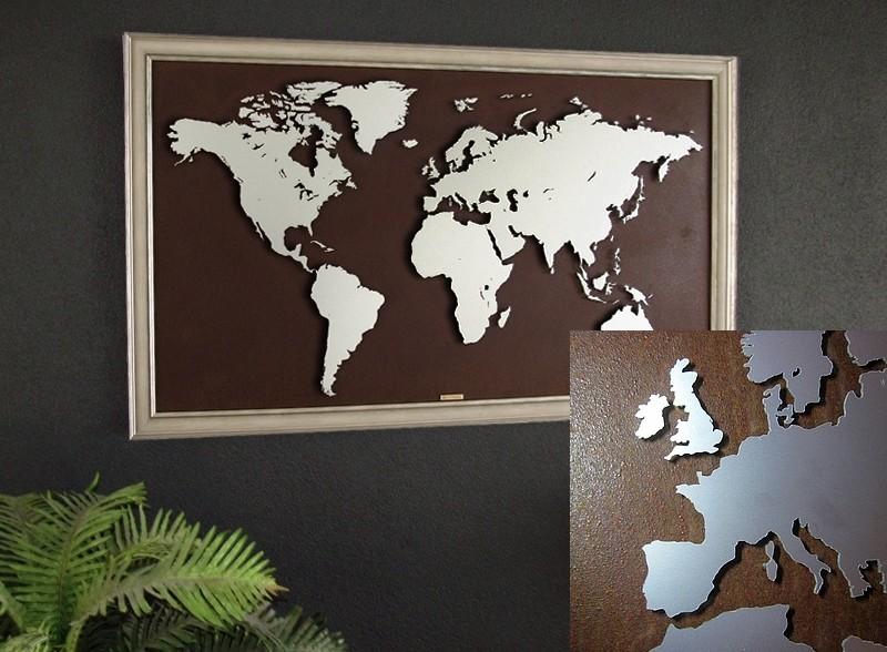 wereldkaart groot metaal